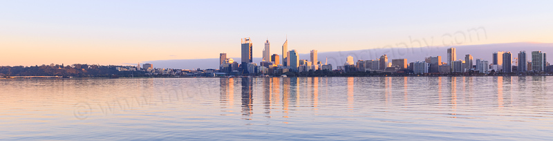 Perth and the Swan River at Sunrise, 21st August 2013