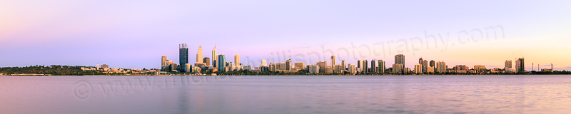 Perth and the Swan River at Sunrise, 13th February 2014