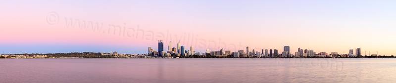 Perth and the Swan River at Sunrise, 19th February 2014