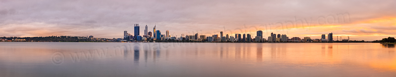 Perth and the Swan River at Sunrise, 16th April 2014