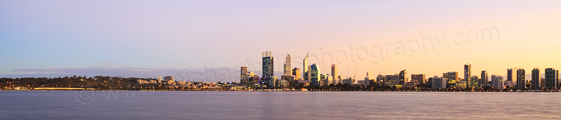 Perth and the Swan River at Sunrise, 29th April 2014
