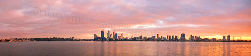 Perth and the Swan River at Sunrise, 14th May 2014