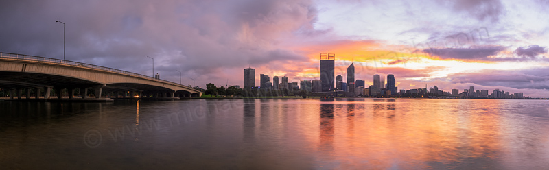 Perth and the Swan River at Sunrise, 21st May 2014