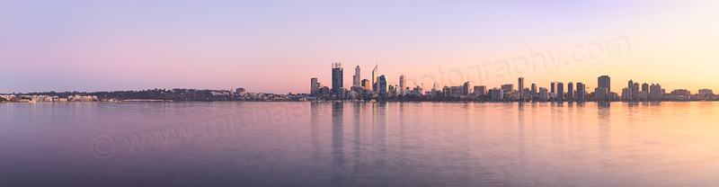 Perth and the Swan River at Sunrise, 4th June 2014