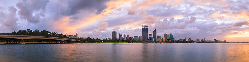 Perth and the Swan River at Sunrise, 18th June 2014