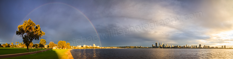 Sunrise Rainbow Over Perth and the Swan River, 30th June 2014