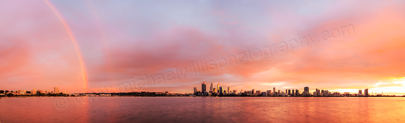 Sunrise Rainbow Over Perth and the Swan River, 1st July 2014