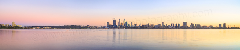 Perth and the Swan River at Sunrise, 3rd July 2014