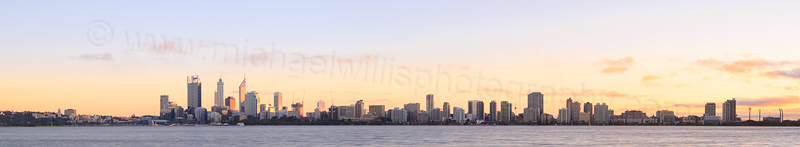 Perth and the Swan River at Sunrise, 12th July 2014