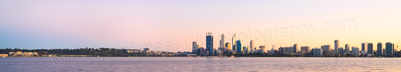 Perth and the Swan River at Sunrise, 13th July 2014