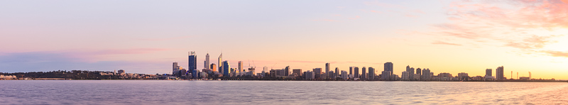 Perth and the Swan River at Sunrise, 19th July 2014