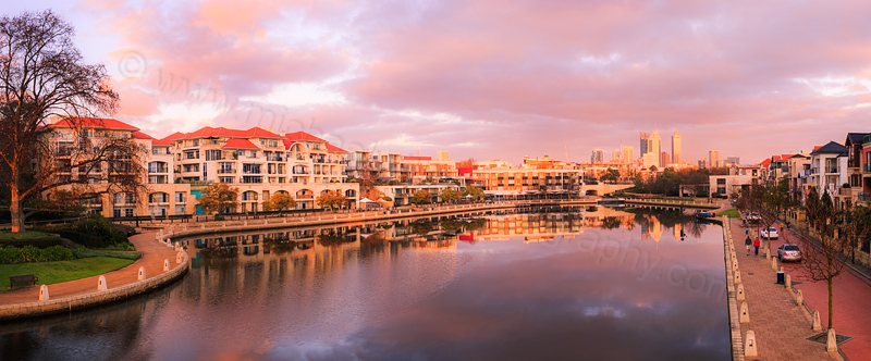 Claisebrook Cove and Perth at Sunrise, 21st July 2014