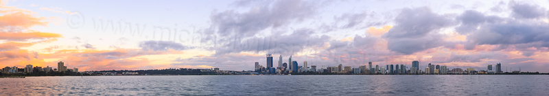 Perth and the Swan River at Sunrise, 25th July 2014