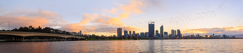 Perth and the Swan River at Sunrise, 26th July 2014