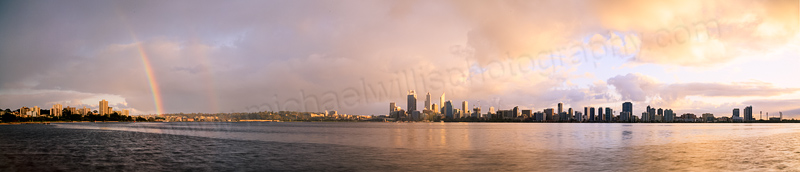 Rainbow over Perth and the Swan River at Sunrise, 28th July 2014