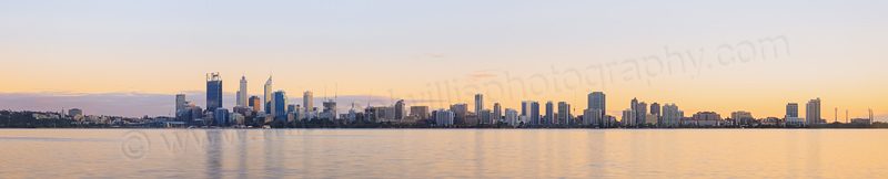 Perth and the Swan River at Sunrise, 20th August 2014
