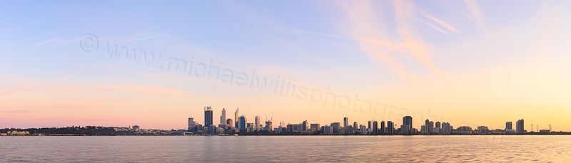 Perth and the Swan River at Sunrise, 24th August 2014