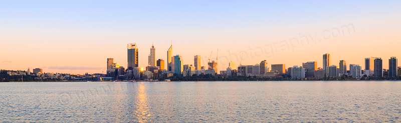 Perth and the Swan River at Sunrise, 25th August 2014
