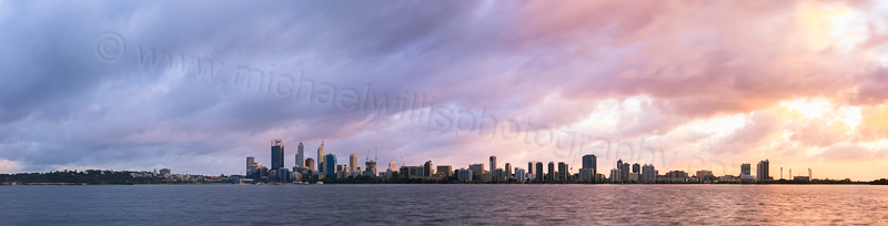 Perth and the Swan River at Sunrise, 29th August 2014