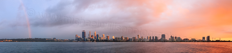 Rainbow Over Perth and the Swan River at Sunrise, 6th September 2014
