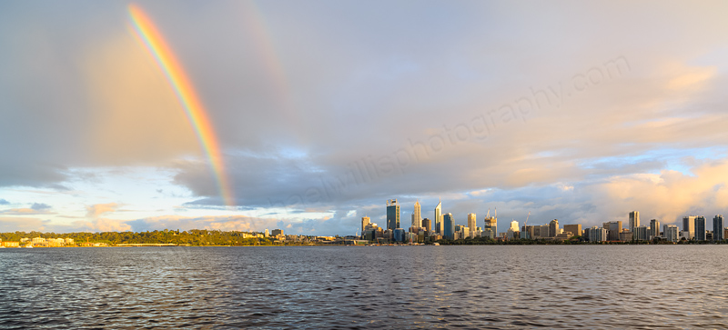 Rainbow Over Perth and the Swan River at Sunrise, 29th September 2014