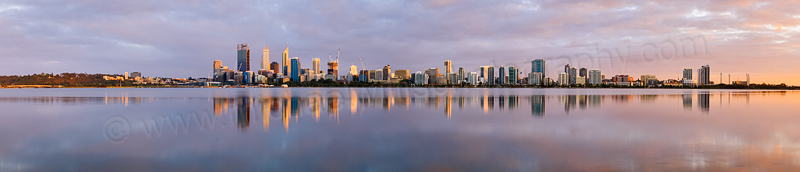 Perth and the Swan River at Sunrise, 6th October 2014