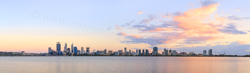 Perth and the Swan River at Sunrise, 18th October 2014