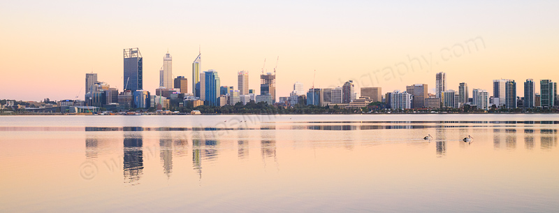 Perth and the Swan River at Sunrise, 21st October 2014