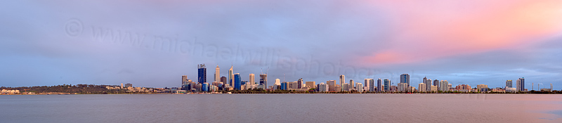 Perth and the Swan River at Sunrise, 31st October 2014