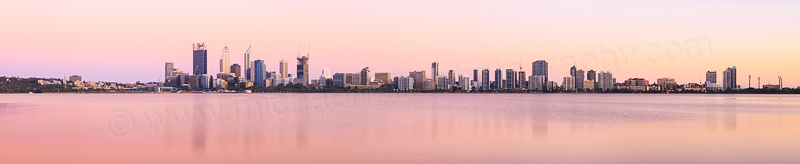 Perth and the Swan River at Sunrise, 16th December 2014