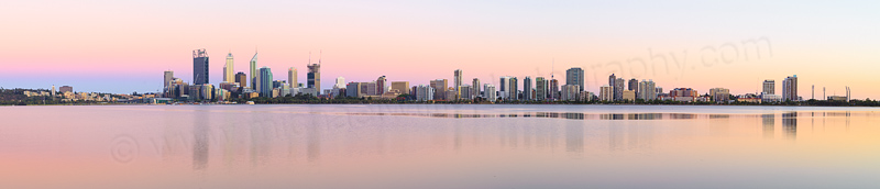 Perth and the Swan River at Sunrise, 28th December 2014
