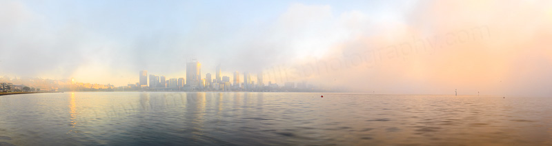 Misty Sunrise Over Perth and the Swan River, 14th January 2015