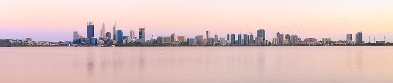 Perth and the Swan River at Sunrise, 7th February 2015