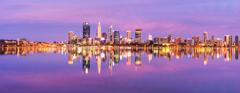 Perth and the Swan River at Sunrise, 17th February 2015