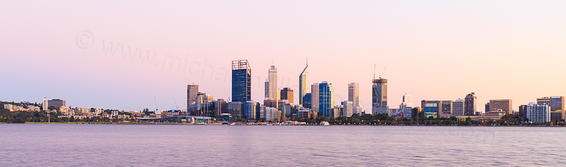 Perth and the Swan River at Sunrise, 25th March 2015