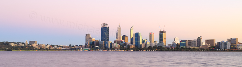 Perth and the Swan River at Sunrise, 26th March 2015