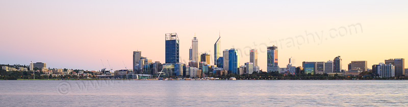 Perth and the Swan River at Sunrise, 26th April 2015