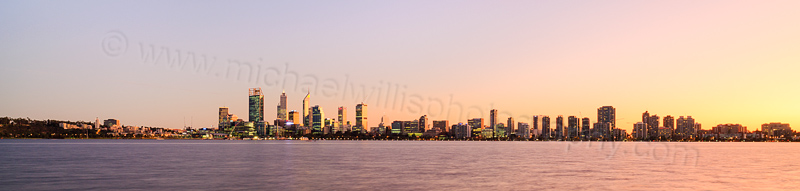Perth and the Swan River at Sunrise, 11th June 2015