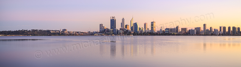 Perth and the Swan River at Sunrise, 13th June 2015