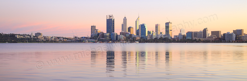 Perth and the Swan River at Sunrise, 15th June 2015