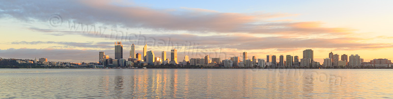 Perth and the Swan River at Sunrise, 6th July 2015