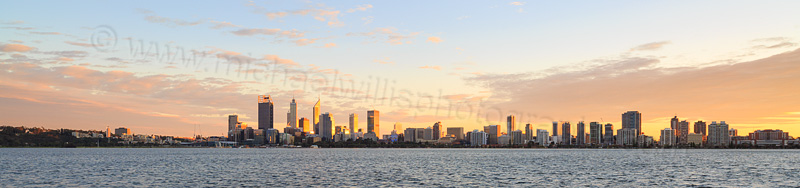 Perth and the Swan River at Sunrise, 17th July 2015