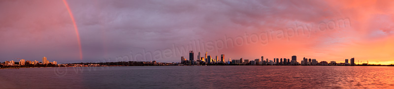 Rainbow over Perth and the Swan River at Sunrise, 19th July 2015