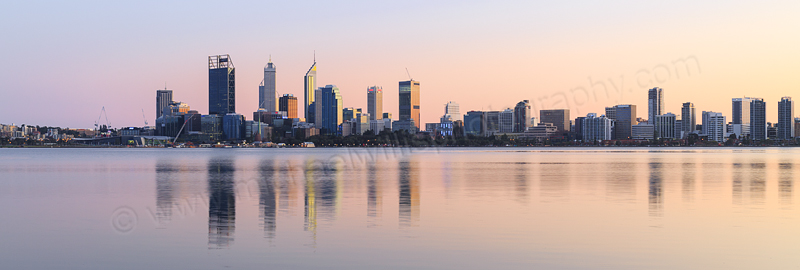 Perth and the Swan River at Sunrise, 26th July 2015