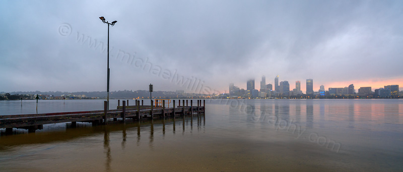 Perth and the Swan River at Sunrise, 29th July 2015