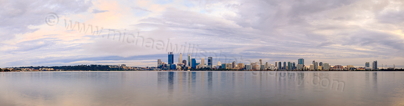 Perth and the Swan River at Sunrise, 30th July 2015