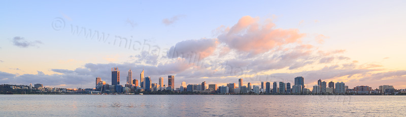 Perth and the Swan River at Sunrise, 31st August 2015