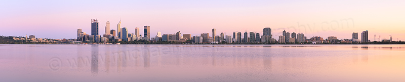 Perth and the Swan River at Sunrise, 9th October 2015