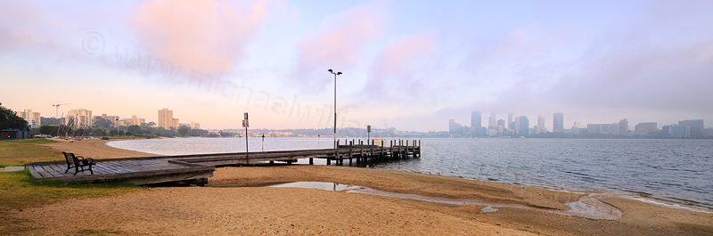 Perth and the Swan River at Sunrise, 13th October 2015