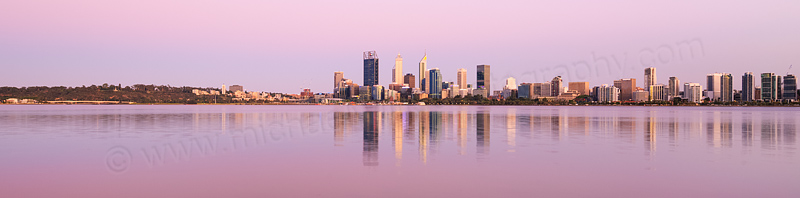 Perth and the Swan River at Sunrise, 14th December 2015